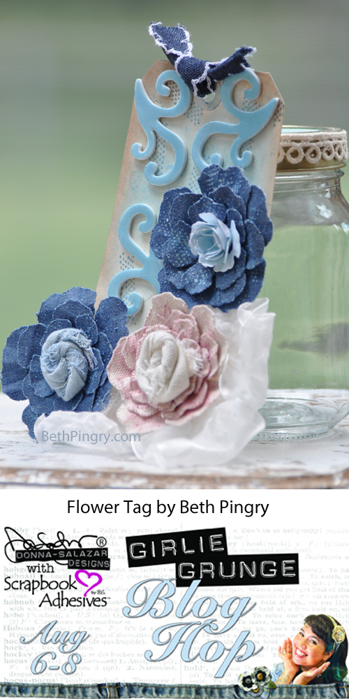 Girlie Grunge Blog Hop Flower Tag by Beth Pingry