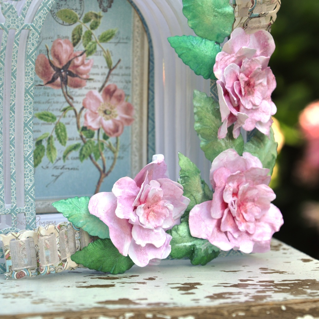Paper flowers on a 3D card with Spellbinders S4-982 Cinch and Go IV by Beth Pingry.