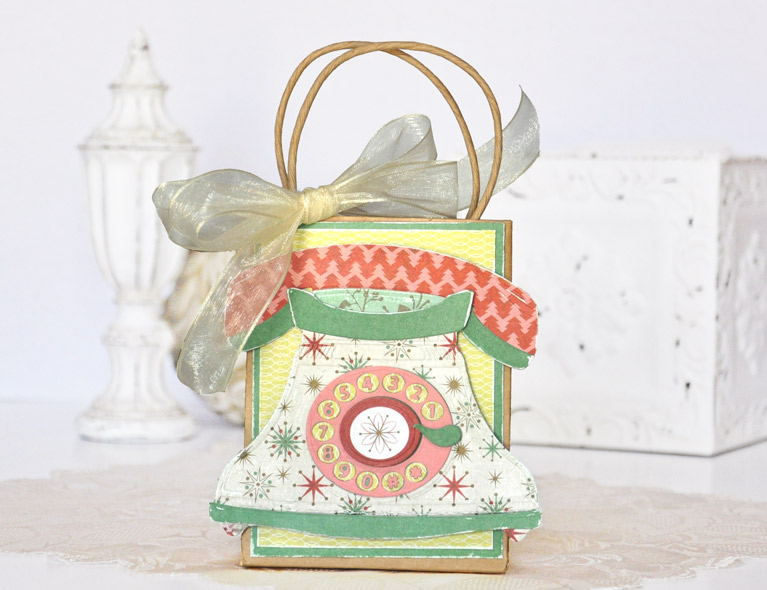 Pop up 3D Vignette Telephone gift bag by Beth Pingry for Amazing Paper Grace and Spellbinders