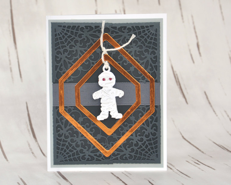 Halloween Card with Mummy Tag by Beth Pingry for Amazing Paper Grace and Spellbinders