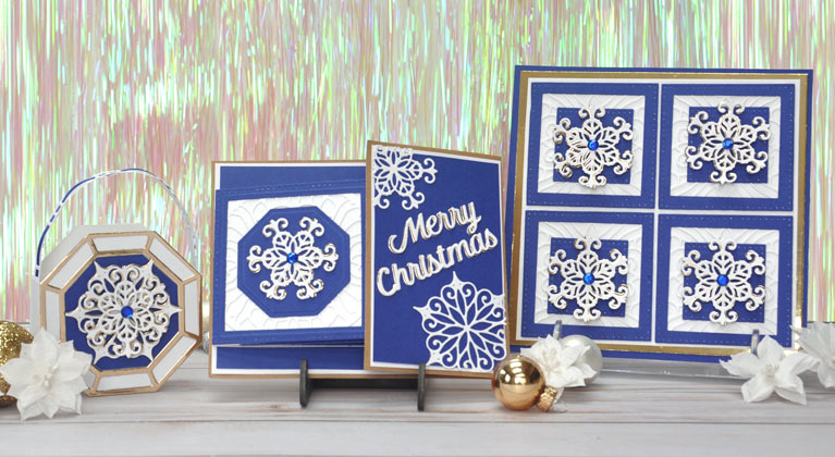Christmas Cascade Blog Hop for Amazing Paper Grace by Beth Pingry Blue Snowflake paper craft ensemble
