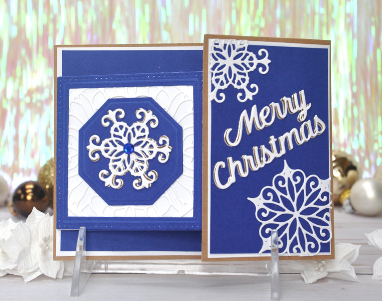 Christmas Cascade Blog Hop for Amazing Paper Grace by Beth Pingry - blue snowflake waterfall card