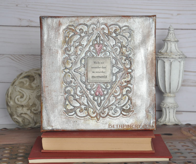 Mixed media canvas using Bella Diamante die from Amazing Paper Grace and Spellbinders, by Beth Pingry.