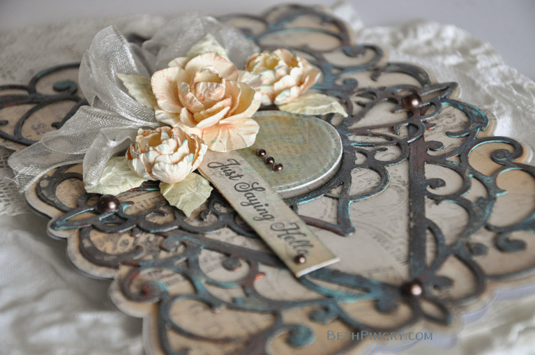 Close up of mixed media card using Bella Diamante die from Amazing Paper Grace and Spellbinders, by Beth Pingry.