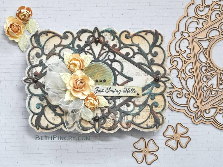 Mixed media card using Bella Diamante die from Amazing Paper Grace and Spellbinders, by Beth Pingry.