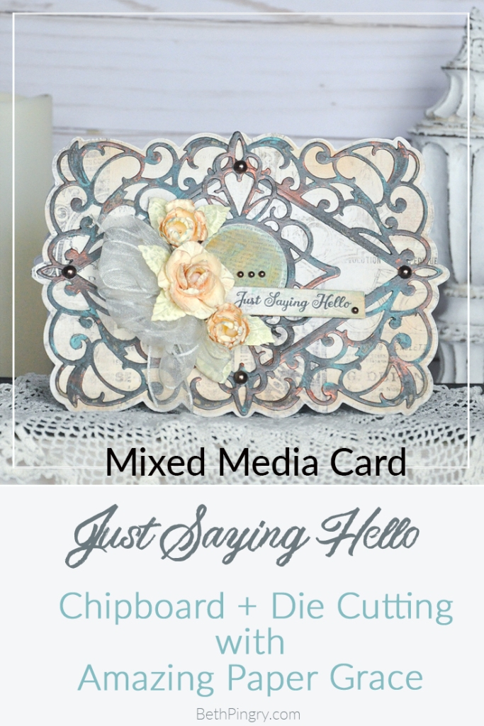 Mixed media card using Bella Diamante die from Amazing Paper Grace and Spellbinders, by Beth Pingry.com